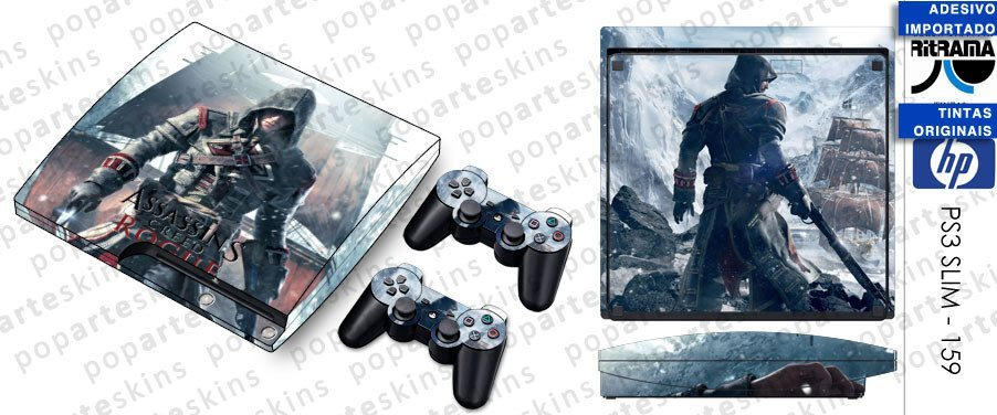 PS3 SLIM SKIN - PS3 SLIM SKIN - Assassins Creed Rogue - Pop Arte Skins Adesivos