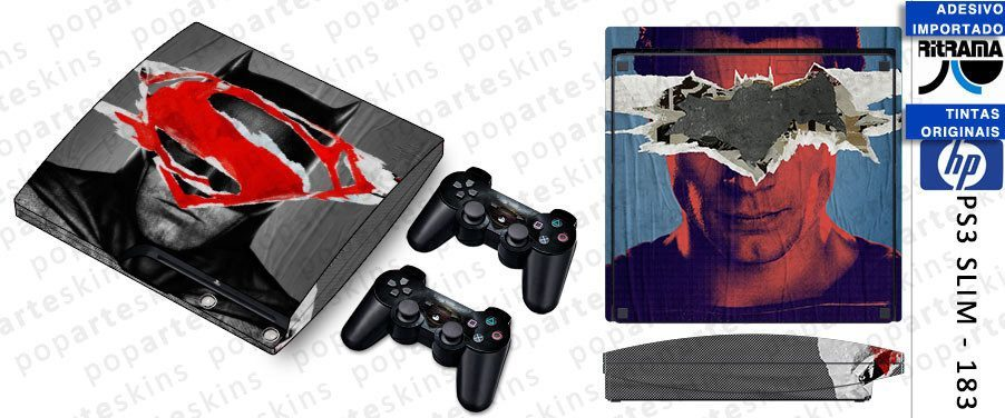 PS3 SLIM SKIN - PS3 SLIM SKIN - Batman vs Superman - Pop Arte Skins Adesivos