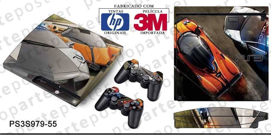 PS3 SLIM SKIN - PS3 SLIM SKIN - Need for Speed Hot Pursuit - Pop Arte Skins Adesivos