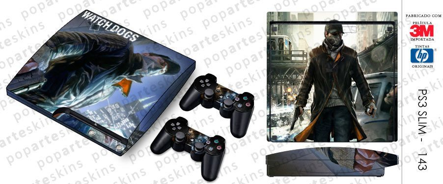 PS3 SLIM SKIN - PS3 SLIM SKIN - Watch Dogs - Pop Arte Skins Adesivos