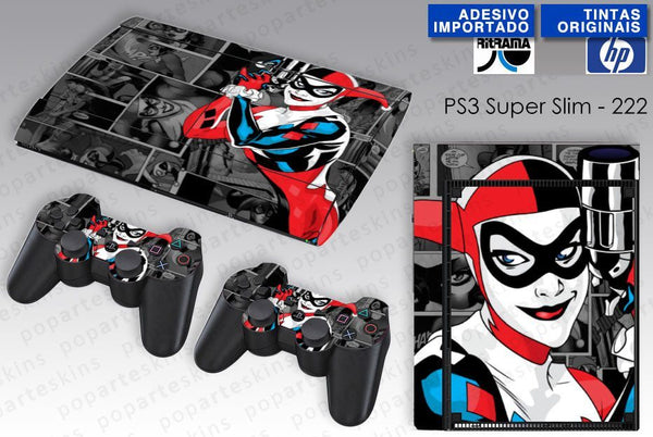 PS3 SUPER SLIM SKIN - PS3 SUPER SLIM SKIN - Arlequina Harley Quinn - Pop Arte Skins Adesivos