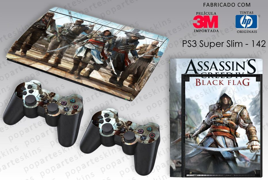 PS3 SUPER SLIM SKIN - PS3 SUPER SLIM SKIN - Assassins Creed IV Black Flag - Pop Arte Skins Adesivos
