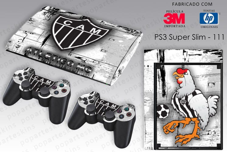 PS3 SUPER SLIM SKIN - PS3 SUPER SLIM SKIN - Atlético Mineiro - Pop Arte Skins Adesivos