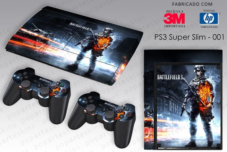 PS3 SUPER SLIM SKIN - PS3 SUPER SLIM SKIN - Battlefield 3 - Pop Arte Skins Adesivos