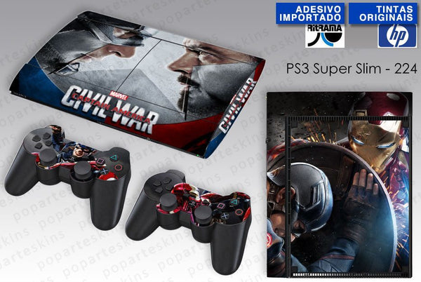 PS3 SUPER SLIM SKIN - PS3 SUPER SLIM SKIN - Capitão America - Guerra Civil - Pop Arte Skins Adesivos