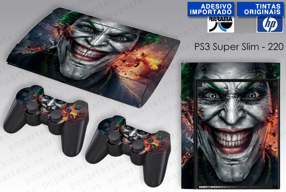 PS3 SUPER SLIM SKIN - PS3 SUPER SLIM SKIN - Coringa Joker - Pop Arte Skins Adesivos