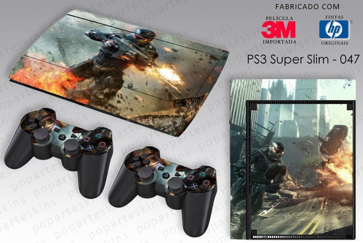 PS3 SUPER SLIM SKIN - PS3 SUPER SLIM SKIN - Crysis 2 - Pop Arte Skins Adesivos