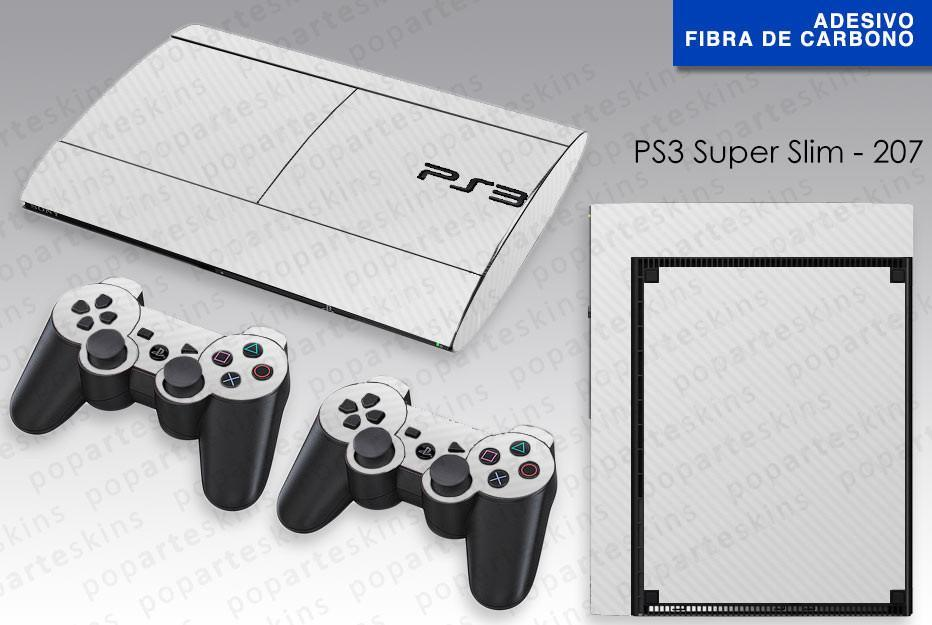 PS3 SUPER SLIM SKIN - PS3 SUPER SLIM SKIN - Fibra de Carbono White Branca - Pop Arte Skins Adesivos