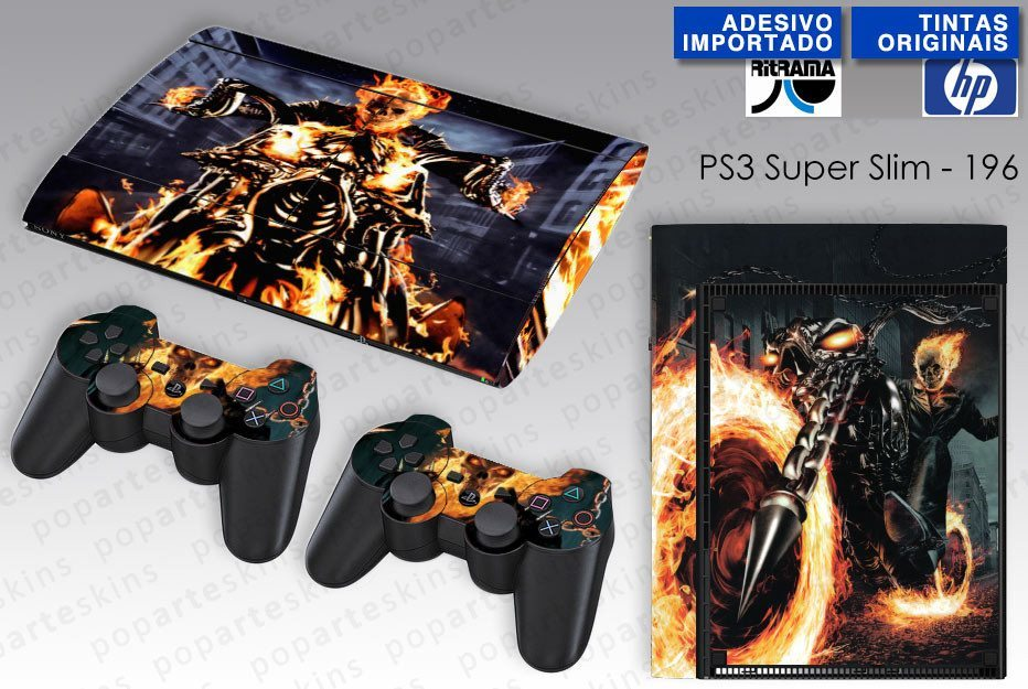 PS3 SUPER SLIM SKIN - PS3 SUPER SLIM SKIN - Ghost Rider - Motoqueiro Fantasma #1 - Pop Arte Skins Adesivos