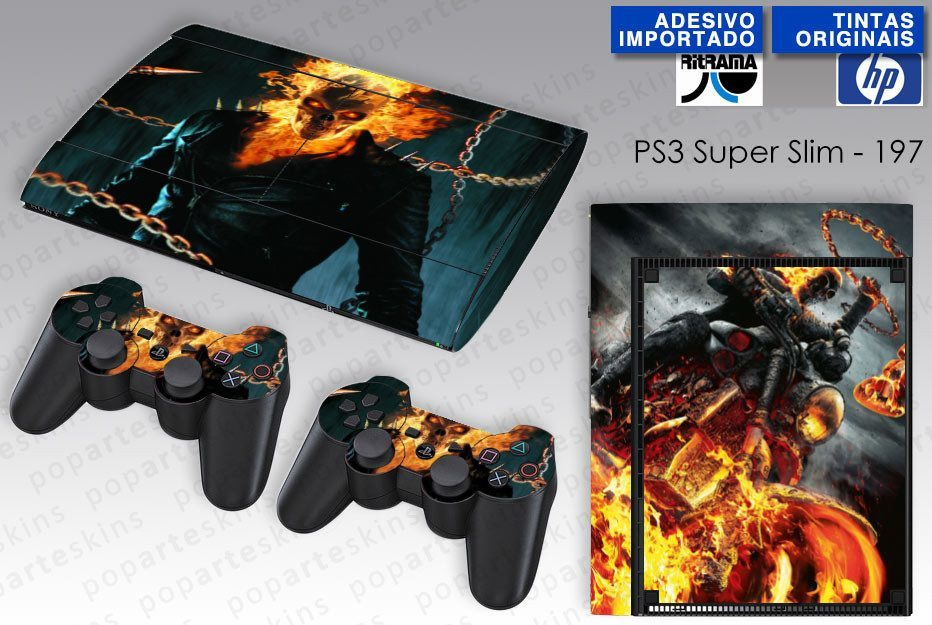 PS3 SUPER SLIM SKIN - PS3 SUPER SLIM SKIN - Ghost Rider - Motoqueiro Fantasma #2 - Pop Arte Skins Adesivos