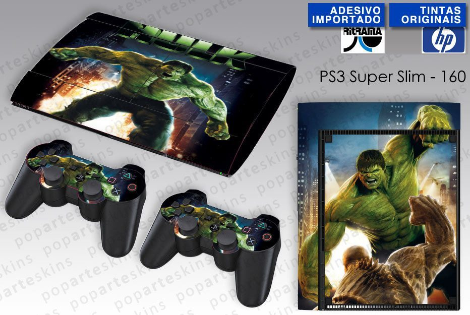 PS3 SUPER SLIM SKIN - PS3 SUPER SLIM SKIN - Hulk - Pop Arte Skins Adesivos