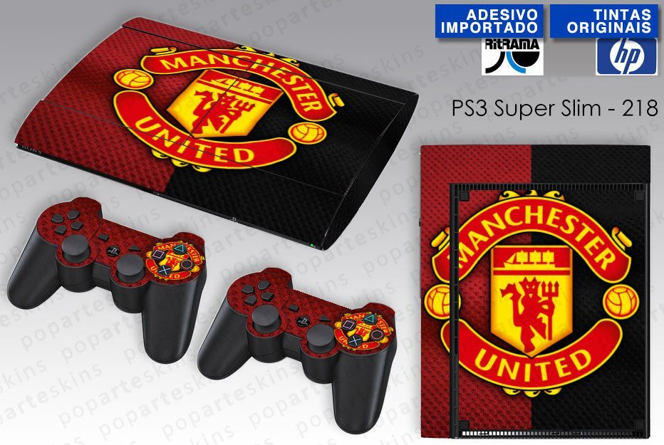 PS3 SUPER SLIM SKIN - PS3 SUPER SLIM SKIN - Manchester United - Pop Arte Skins Adesivos