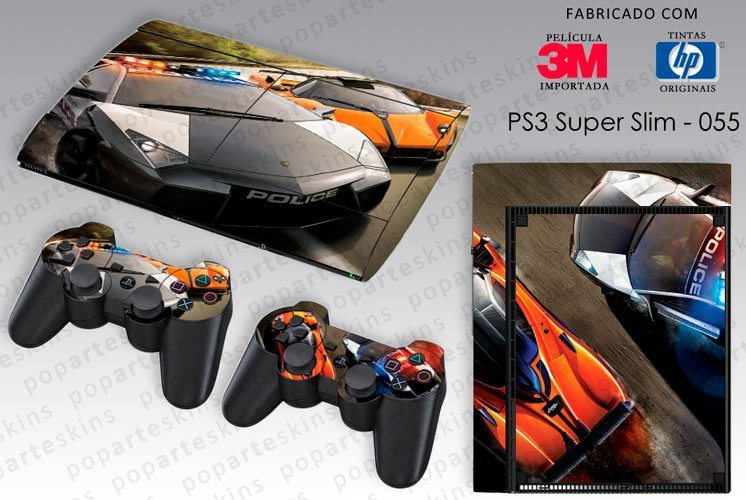 PS3 SUPER SLIM SKIN - PS3 SUPER SLIM SKIN - Need for Speed Hot Pursuit - Pop Arte Skins Adesivos
