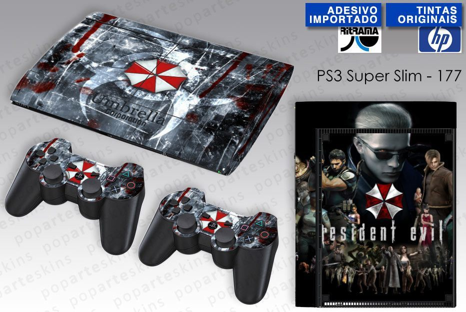 PS3 SUPER SLIM SKIN - PS3 SUPER SLIM SKIN - Resident Evil - Umbrella - Pop Arte Skins Adesivos