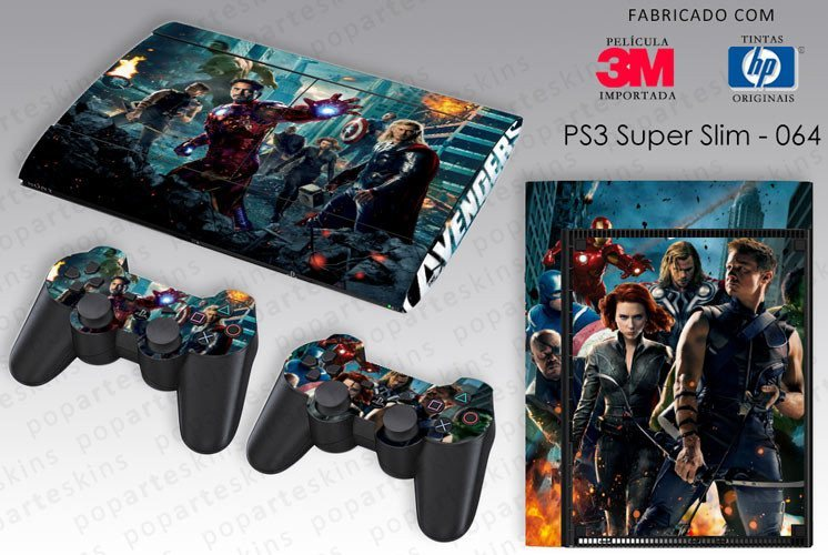 PS3 SUPER SLIM SKIN - PS3 SUPER SLIM SKIN - The Avengers - Os Vingadores - Pop Arte Skins Adesivos