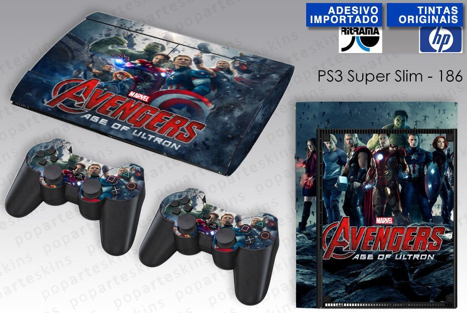 PS3 SUPER SLIM SKIN - PS3 SUPER SLIM SKIN - Vingadores 2: A Era de Ultron - Pop Arte Skins Adesivos