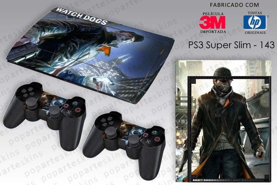 PS3 SUPER SLIM SKIN - PS3 SUPER SLIM SKIN - Watch Dogs - Pop Arte Skins Adesivos