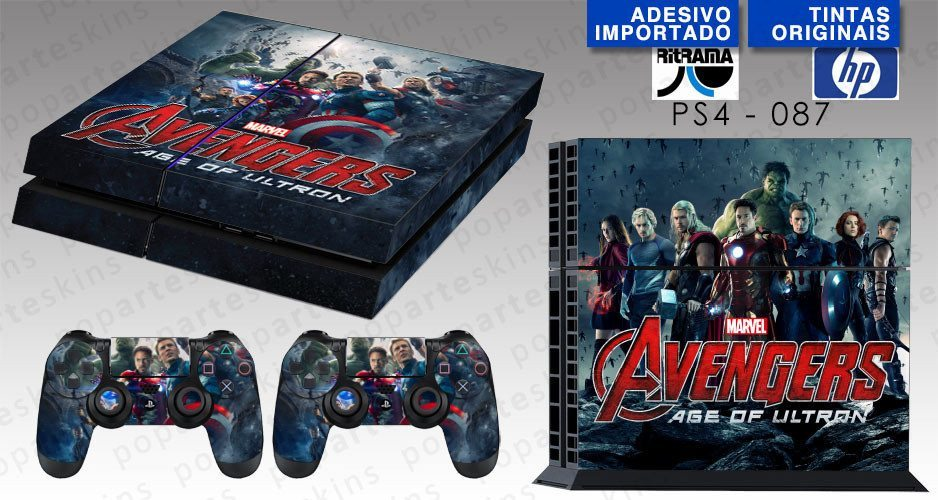 PS4 SKIN - PS4 SKIN - Avengers - Age of Ultron - Pop Arte Skins Adesivos