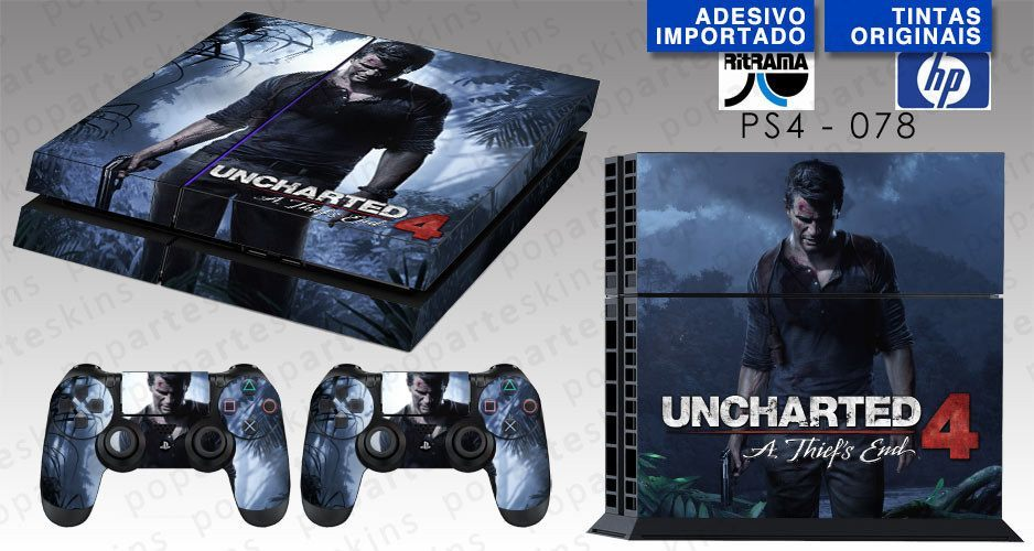 PS4 SKIN - PS4 SKIN - Uncharted 4 A Thiefs End - Pop Arte Skins Adesivos