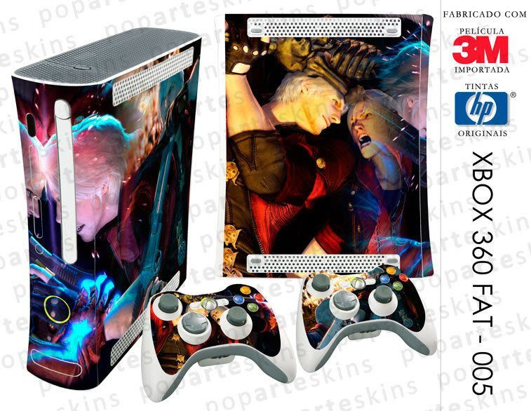 XBOX 360 FAT SKIN - XBOX 360 FAT SKIN - Devil May Cry 4 - Pop Arte Skins Adesivos