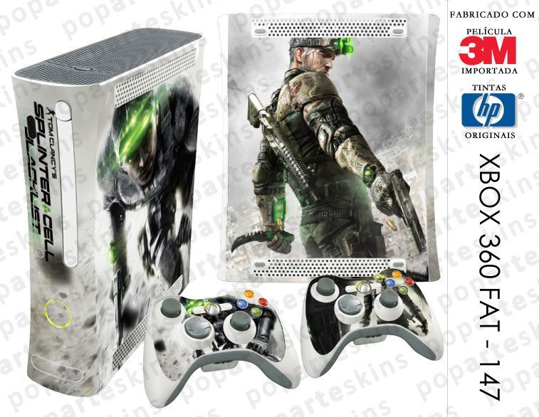 XBOX 360 FAT SKIN - XBOX 360 FAT SKIN - Splinter Cell Black List - Pop Arte Skins Adesivos