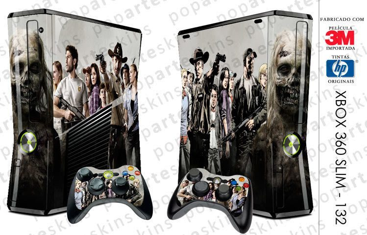 XBOX 360 SLIM SKIN - XBOX 360 SLIM SKIN - The Walking Dead - Pop Arte Skins Adesivos