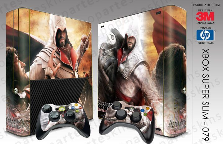 XBOX 360 SUPER SLIM SKIN - XBOX 360 SUPER SLIM SKIN - Assassins Creed Brotherwood - Pop Arte Skins Adesivos