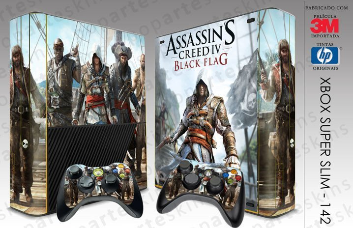 XBOX 360 SUPER SLIM SKIN - XBOX 360 SUPER SLIM SKIN - Assassins Creed IV Black Flag - Pop Arte Skins Adesivos