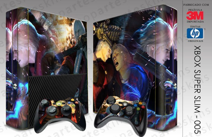XBOX 360 SUPER SLIM SKIN - XBOX 360 SUPER SLIM SKIN - Devil May Cry 4 - Pop Arte Skins Adesivos