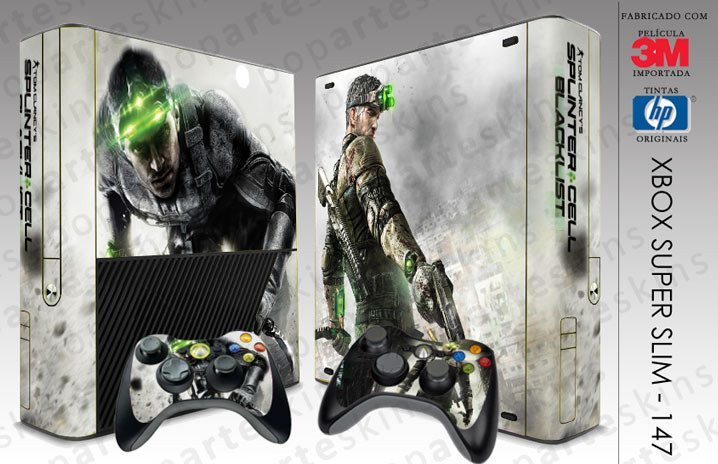 XBOX 360 SUPER SLIM SKIN - XBOX 360 SUPER SLIM SKIN - Splinter Cell Black List - Pop Arte Skins Adesivos