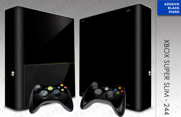 XBOX 360 SUPER SLIM SKIN - Preto Sólido Black Piano