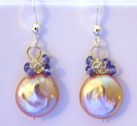 Pearl Tanzanite Earrings