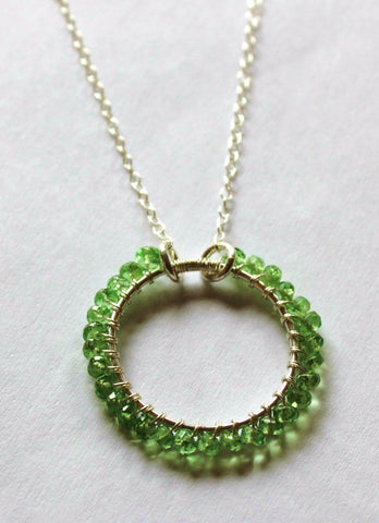Infinity Green Garnet Necklace