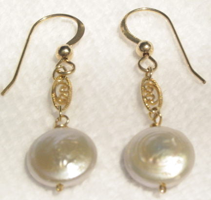 Gold Filled Filigree White Coin Pearl Earrings