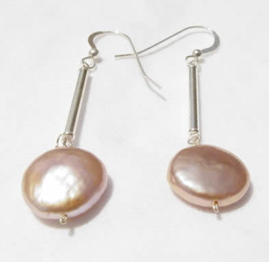 Coin Pearl Stick Earrings