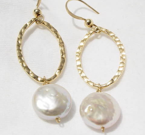 White Coin Pearl Earrings