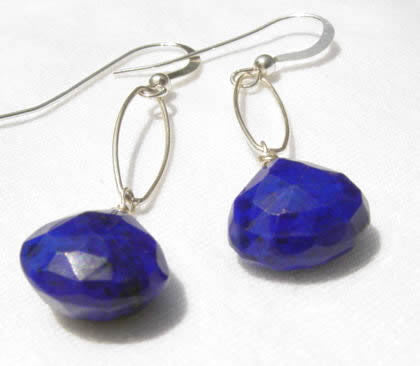 Pair of Sterling Silver Lapis Earrings