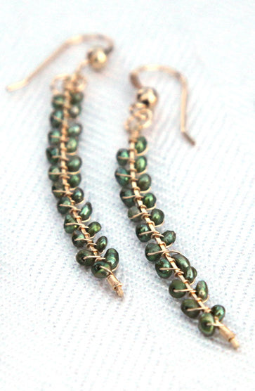 14K Gold-Filled Green Freshwater Pearl Branch Stick Earrings