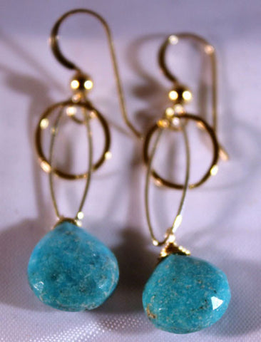 14K Gold Filled Circle Sterling Silver Turquoise Earrings