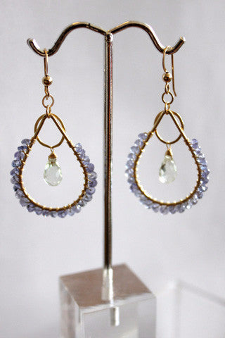 Tanzanite Green Amethyst Chandelier Earrings