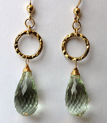 Green Amethyst Briolette Earrings
