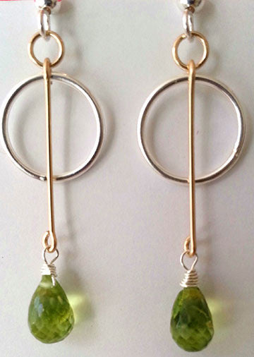 Two Tone Peridot Earrings