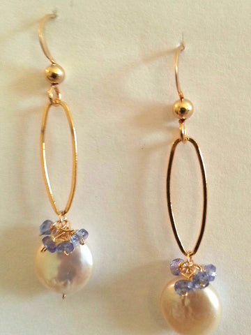 Pearl & Tanzanite Earrings