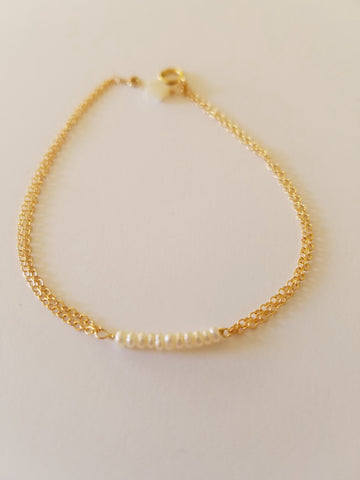 14K Gold- Filled Seed Pearl Bracelet