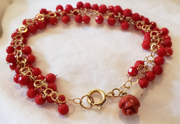 14K Gold-Filled Coral Bracelet