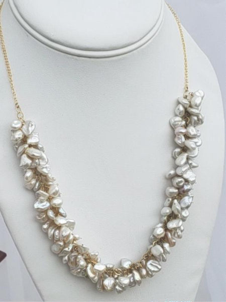 Keshi Pearl Cluster Necklace
