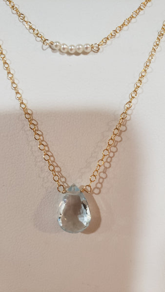 Swiss Blue Topaz Pearl Necklace