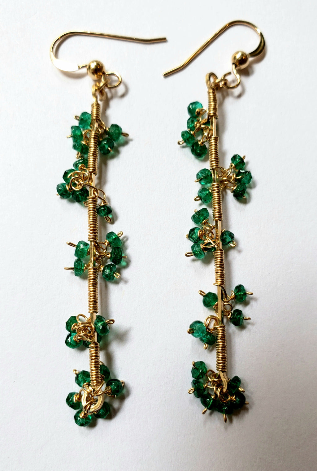 Emerald Cluster Drop Earrings