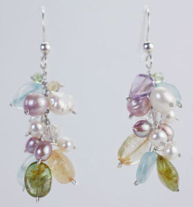 Semi Precious Stone and Freshwater Pearl Earrings