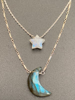 Silver Moon & Star Layered Necklace